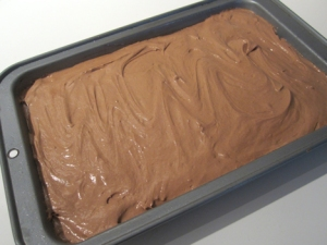 brownie batter, loaded and ready to go into the oven