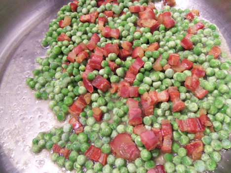 Add the peas.