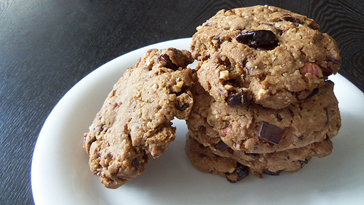 Chocolate-Chunk Oatmeal Cookies with Dried Cherries and Pecans.