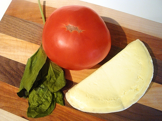 Tomato, Brie cheese and basil.