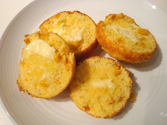 New York Corn Muffins, heated, sliced and buttered.